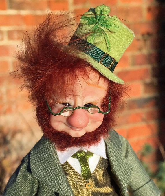 Lucky Irish Leprechaun Good Luck Charm ooak fantasy art doll unique Wedding or Christmas gift idea