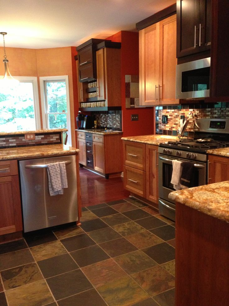 Kraftmaid kitchen with mix of light and dark cherry wood cabinets granite countertops my Kitchen design mixed cabinets