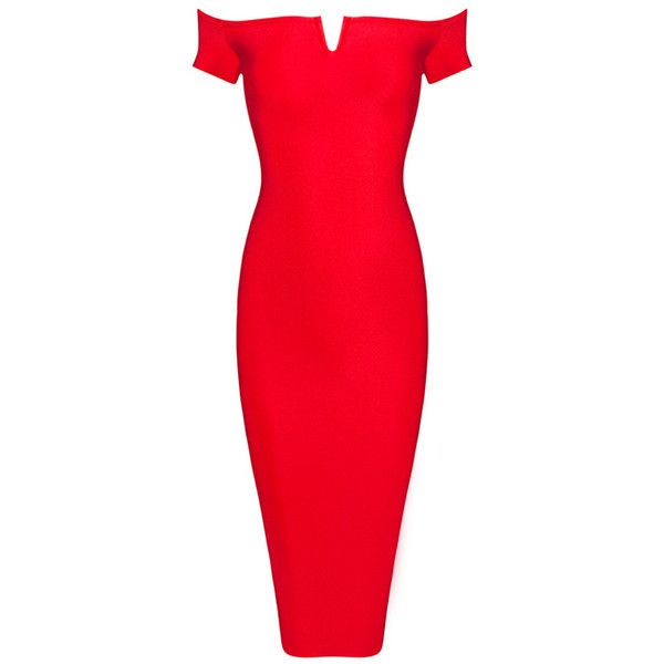 Honey Couture Red Off Shoulder Bandage Midi Dress (215 SGD) ❤ liked on Polyvore featuring dresses, bandage dress, sexy dresses, sexy midi dresses, form fitting dresses and mid calf dresses