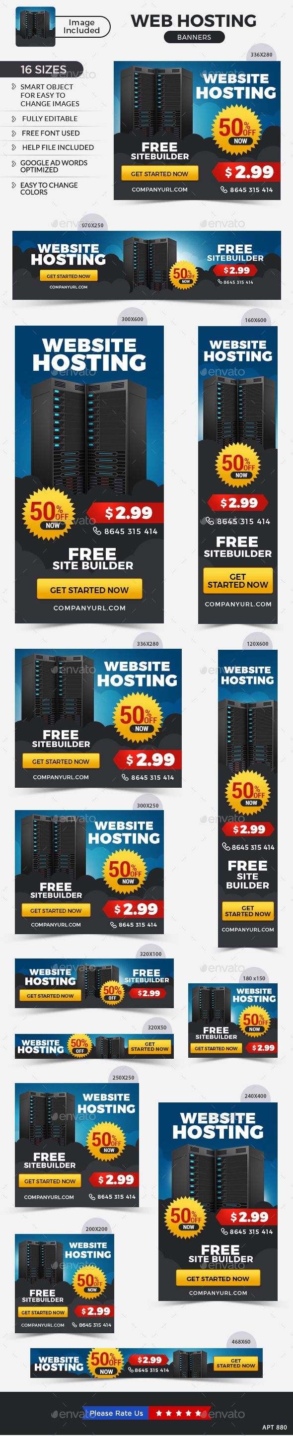 Web Hosting Banners Template #design #ads Buy Now: http://graphicriver.net/item/web-hosting-banners/12878556?ref=ksioks