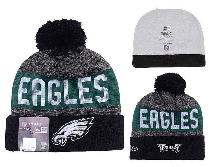 Men's / Women's Philadelphia Eagles New Era NFL 2016 Sideline Sprots Knit Pom Pom Beanie Hat - Black / Grey / Green