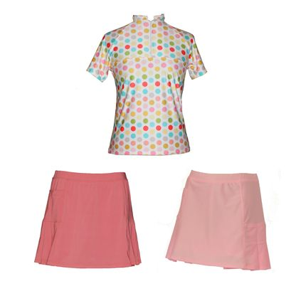 Our lovely new Fruit Delight printed top with either the coral or baby pink skort. Save by purchasing as a set.  The classic style women's golf shirt has a zip up front, short sleeves, and oriental style collar.  The matching skort has pleats on both sides, and handy pockets to stash your tees and golf balls. The built in shorts and made from the same comfortable nylon – elastine.  Limited numbers so purchase yours today.