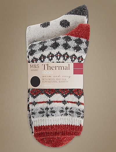 2 Pair Pack Bright Fairisle Thermal Ankle High Socks with Silver Technology | M&S