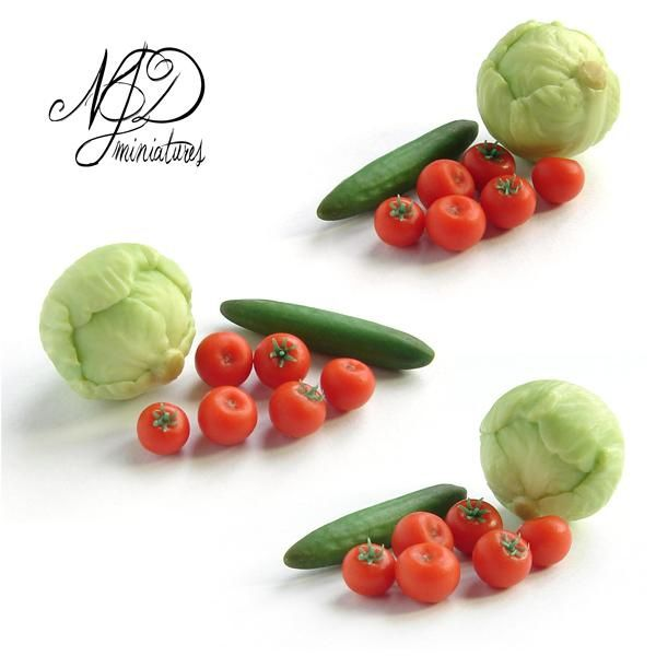 https://flic.kr/p/adwtz6 | 1:12 Salad Vegetables | Iceberg lettuce, cucumber and tomatoes in 1:12 scale.  Handmade from polymer clay.