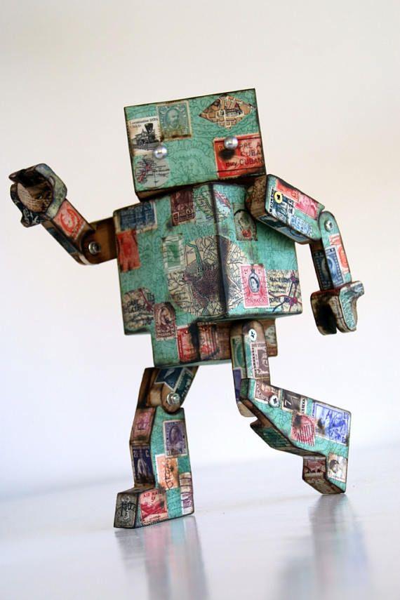 Vintage Teal Robot