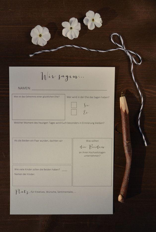 Diese Art des Gästebuchs stellt Euren Gästen gezielte Fragen nach Eurer Hochzeit und Euch. Ihr könnt die Bögen als Gästebuch einfach auf der Hochzeitstafel neben den Tischkarten auslegen oder...