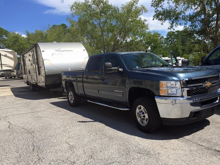 Our Chevy Silverado 2500HD crew cab Diesel is just the right fit for our new Coachman Catalina travel trailer
