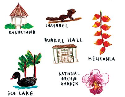 "watercolors illustration: ""Singapore Botanic Garden Map"""
