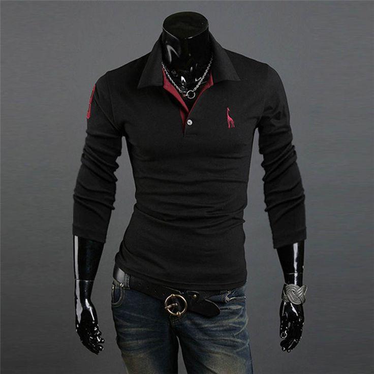 Hot! New Men Polo Shirt Slim Fit Long Sleeve V Neck Shirts Casual Tee Tops M-XXXL