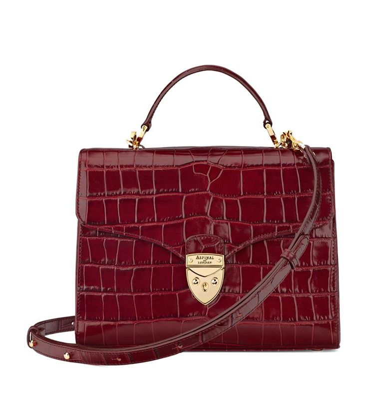 Accessories: Crossbody Bags Aspinal of London Croc Print Mayfair Bag