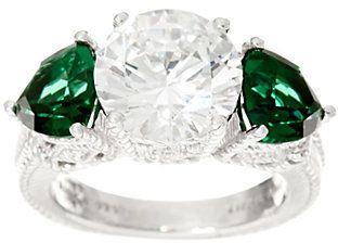 Judith Ripka Sterling Diamonique & Simulated Green Quartz Ring