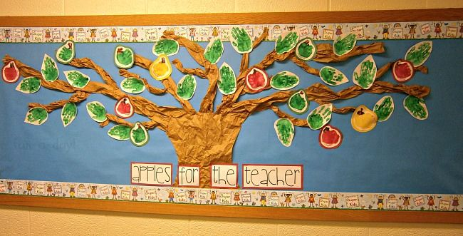 Apple Hand Print Tree Bulletin Board - Fun-A-Day!
