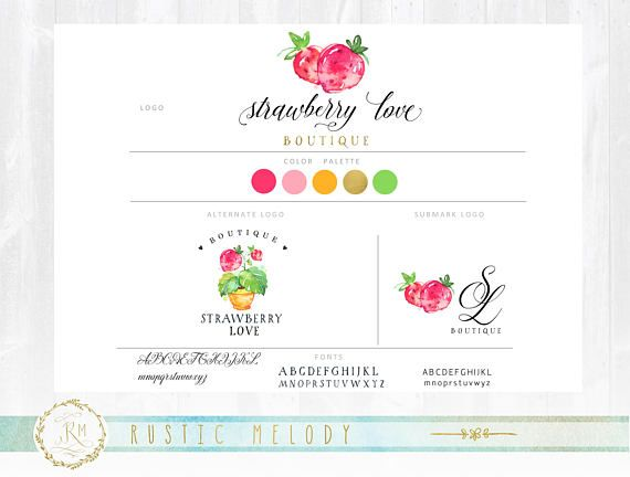 Branding Package,Strawberry Logo, Decor Logo, Food Logo, Fruit Logo, Watercolor Logo, Watermark