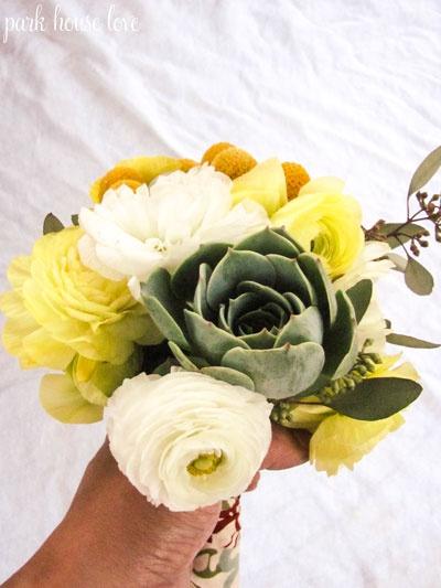 succulent and ranuculus bouquet tute via park house love