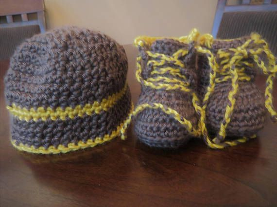 Ready to ship newborn hat and boot set