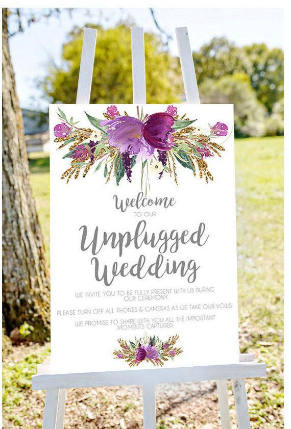Unplugged wedding sign unplugged sign by Papierscharmants on Etsy