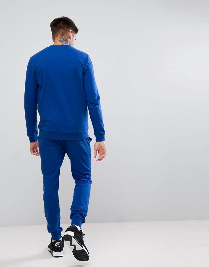 ASOS Tracksuit Muscle Sweatshirt / Super Skinny Jogger In Cobalt Blue