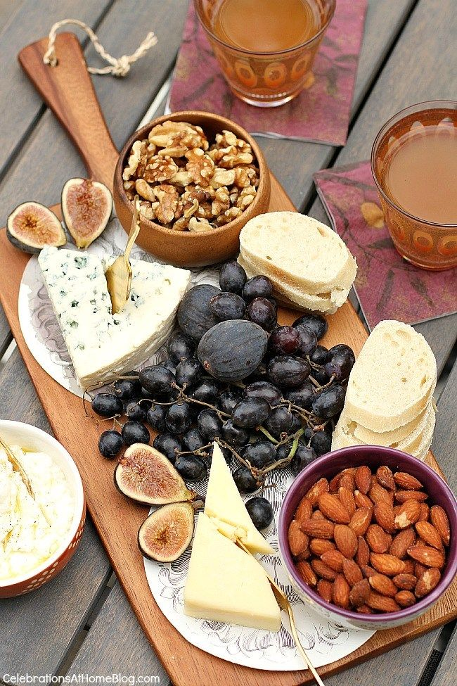 A light rustic dinner party menu for casual entertaining at home. - cheese board