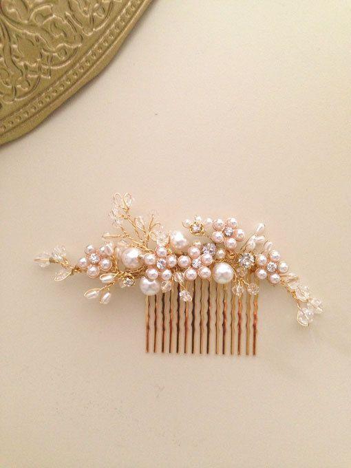 Delicate Bridal hair comb fascinator crystals gold by amuandpri, $68.00
