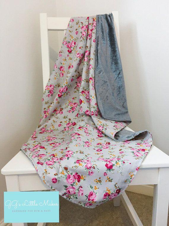 Floral crushed velvet blanket, Pram blanket, Baby blanket, Toddler Blanket, lightweight baby blanket, Travel blanket