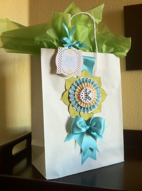 Birthday gift bag made using the Cricut Ribbons and Rosettes cartridge.