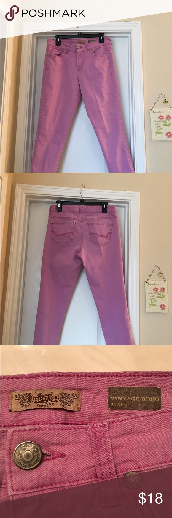 """AWESOME lavender vintage jeans!😎 These are super duper cute! They are cropped, 23.5"""" inseam, 9.5"""" front rise, 16"""" waist. If I could lose 5lb., I'd keep them for sure! Pic1&2 are closer to actual color. You'll love them! 💜💜.    If you want additional measurements, please ask before purchasing! Nine West Jeans Ankle & Cropped"""