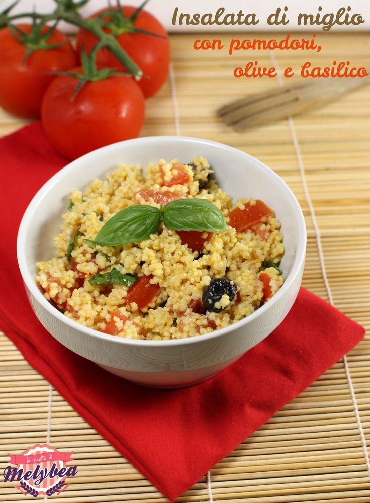 Insalata di miglio con pomodori, olive e basilico. Millet salad with tomato, olives ans basil. #healthy #food #foodporn