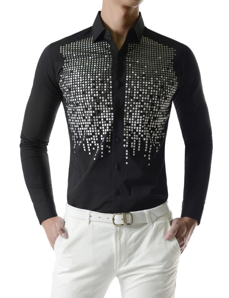 Square Metallic Beads Bling Studs Gems Stretchy Long Sleeve Shirts