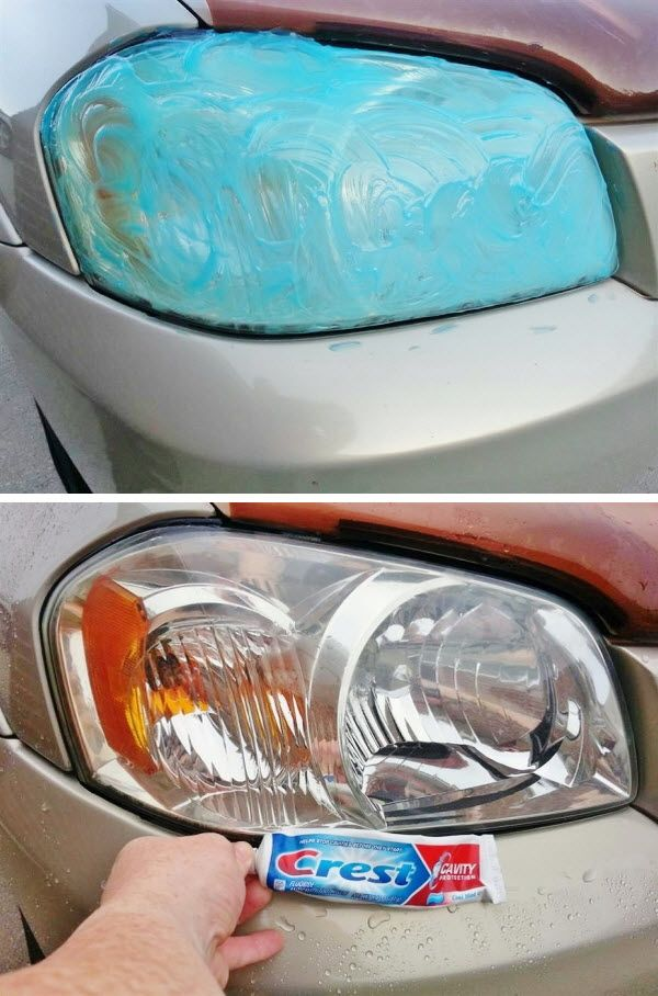 Headlight Restoration via Crest toothpaste!   Yesterday that head light was 50% covered with green tarnished film. I applied toothpaste after sun went down and rubbed it in this morning for 5 minutes. Total process took less than 8 minutes for both headlights. Locally companies wanted $65 to do what simple toothpaste could do. It's not back to 100% factory new condition but I'm well pleased with results for half a tube of toothpaste.