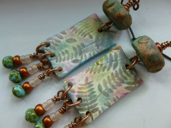 Fern Hill Earrings  Polymer Clay Dangles by Northernblooms on Etsy