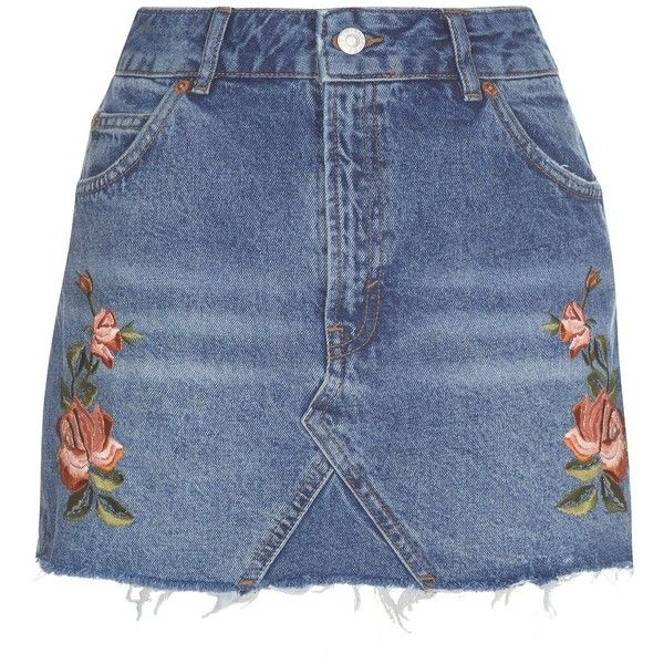 Topshop Petite Rose Embroidered Skirt (£36) ❤ liked on Polyvore featuring skirts, topshop, blue mini skirt, blue skirt, topshop skirts, floral mini skirt and embroidered mini skirt