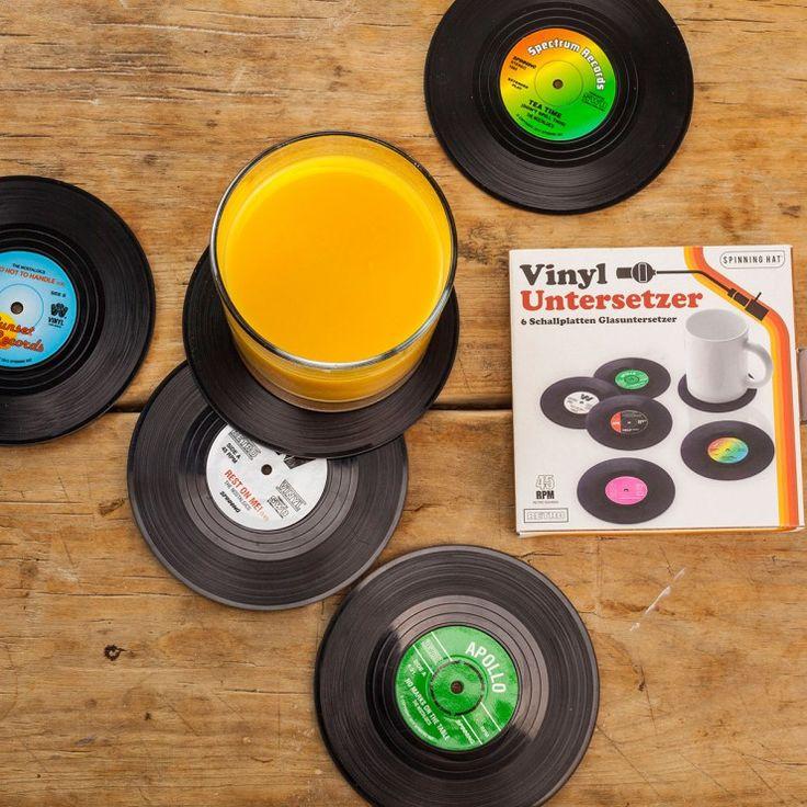 Lifestyle & wonen - Vinyl Elpee onderzetters – set van 6 - Zes funky retro onderzetters voor in de huiskamer, slaapkamer of kantoor.