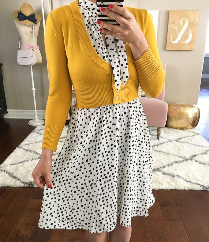 polka dot tie neck dress, mustard crop cardigan, petite outfit, fall outfit, work outfit - click the photo for outfit details!