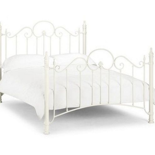 Happy Beds Florence Stone White Metal Bed Frame 5ft King Size