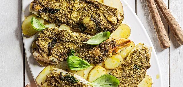 Filetes de peixe com molho de pesto