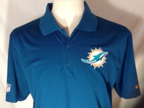 Miami Dolphins Polo Large Mens Nike Dri-Fit NFL Onfield Apparel Blue Green