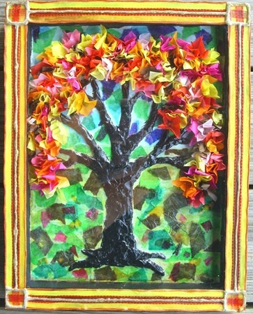 tissue paper tree, air-dry clay tree trunk, in shadowbox: Art Museums, Artsonia Art, Beverly37 Art