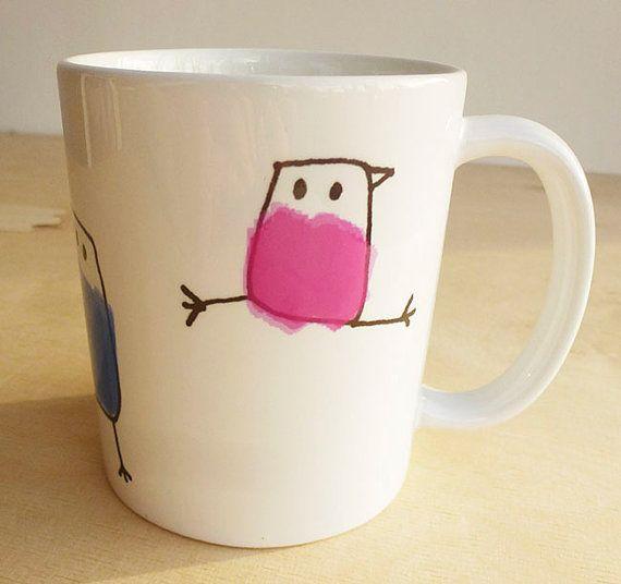 COLORFUL BIRDS mug by steinkeller on Etsy