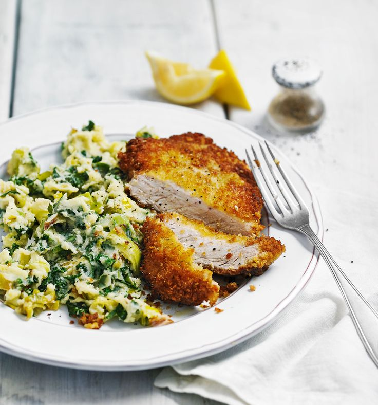 Colcannon with pork schnitzel - When you're in need of a hearty midweek meal, our colcannon with pork schnitzel recipe is a comforting shortcut supper that's quick and easy to make.