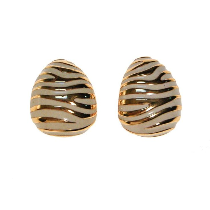 Vintage Joan Rivers White and Gold Animal Print Earrings, Zebra, Designer Vintage Jewelry #gotvintage #fashionista #glam #shopaholic #fblogger #jewelryaddict #vintage #retro #runway #fashiondailies #wiw #musthave #thehappynow #flashesofdelight