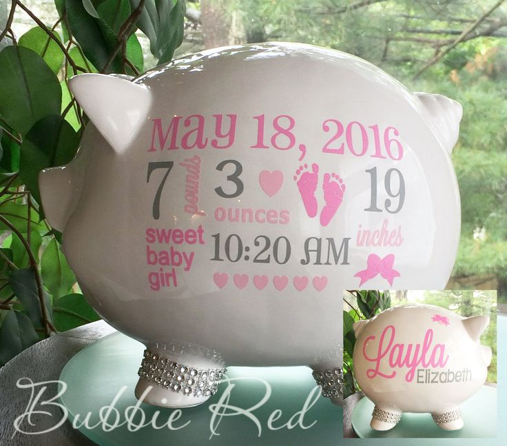138 best great gifts images on pinterest baby presents personalized piggy bank custom piggy bank baby girl piggy bank baby girl gift negle Images