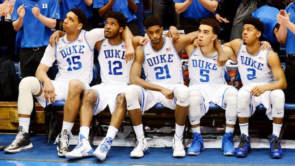 Jahlil Okafor, Justise Winslow, Amile Jefferson, Tyus Jones, Quinn Cook