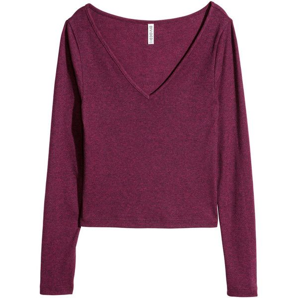 V-neck Jersey Top $9.99 ($9.99) ❤ liked on Polyvore featuring tops, purple jersey, jersey top, short tops, v neck jersey top and long sleeve v neck top