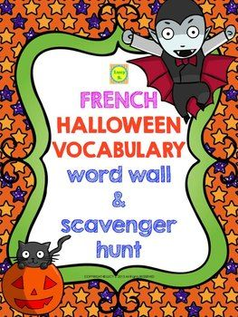 french halloween vocabulary word wall scavenger hunt - Halloween Vocab Words
