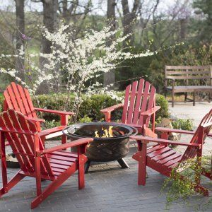 Coral Coast Pleasant Bay Adirondack Aspen Fire Pit Chat Set - Seating for 4 - Fire Pit Patio Sets at Hayneedle