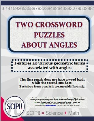 This set of two angle crossword puzzles features 20 geometric terms associate with angles. The words showcased in both puzzles are ray, acute, right, obtuse, reflex, vertex, degrees, adjacent, straight, vertical, protractor, complimentary and supplementary. Please note: some of the words are used more than once.
