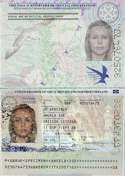 New British passport design
