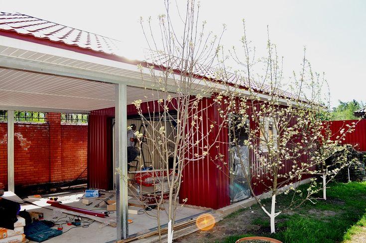 Проект гаража 6 х 13 м - с навесом  Внешний вид и планировка гаража с навесом. Комплектация и цена. В проект можно внести изменения