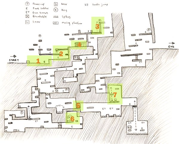 This article looks at the process of designing levels for a platformer: from the initial idea to the final playable level.