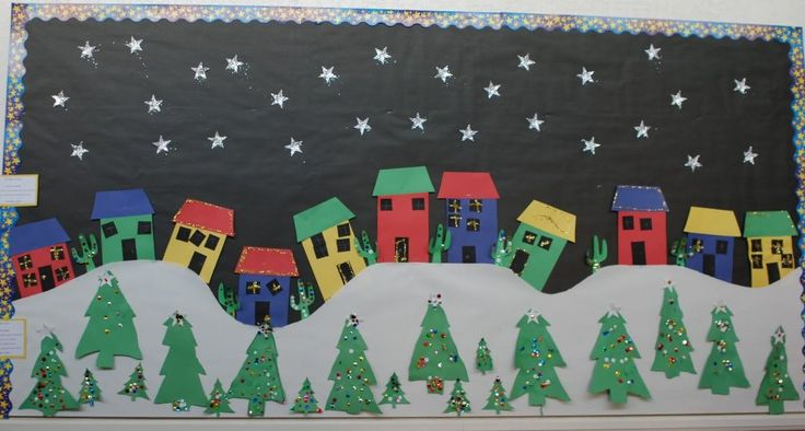 Holiday Town Bulletin Board Idea but with snow on the edges of the houses